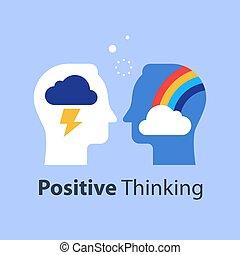 regenboog, hoofd, negatief, goed, denken, wolk, slecht, houding, concept, of, positief, denkrichting
