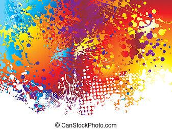 regenboog, inkt, splat, bodem