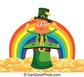 regenboog, jongleren, dwerg, goud, man