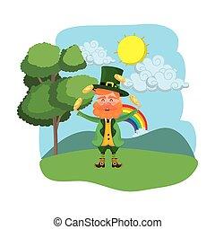 regenboog, jongleren, man, dwerg, buitenshuis