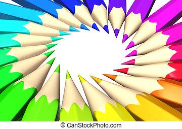 regenboog kleurde, potloden