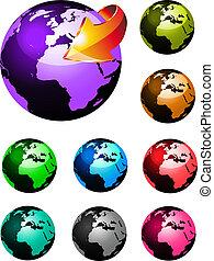 regenboog kleuren, bol, glanzend, aarde, 3d