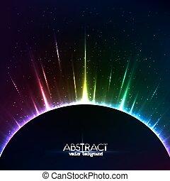 regenboog, kleurrijk licht, kosmisch, bol, het glanzen
