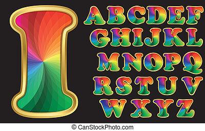 regenboog, kleurrijke, alfabet