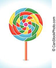 regenboog, kleurrijke, lollipop, vector, of, swirl.