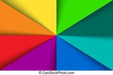 regenboog, kleurrijke, model, spectrum, schaduwen, vector, achtergrond, papieren, driehoeken, mal
