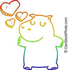 regenboog, liefde, nijlpaard, helling, tekening, lijn, spotprent