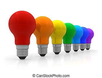 regenboog, lightbulbs, roeien