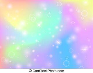 regenboog, magisch, fantasie, abstract, stars., veelkleurig, vector, achtergrond, eenhoorn, vonkeelt, elfje, achtergrond
