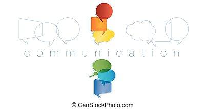 regenboog, marketing., netwerk, contacten, vrienden, concept., communication., vrijstaand, chatting., community., vector, toespraak, colors., online mededeling, tekst, bel