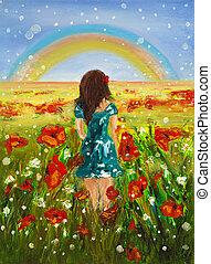 regenboog, meisje