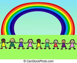 regenboog, mensen