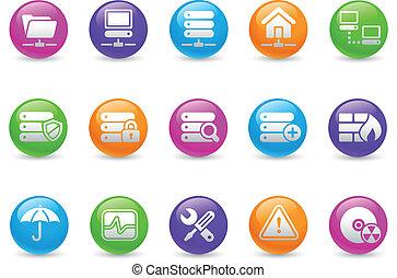 regenboog, netwerk, &, kelner, hosting/