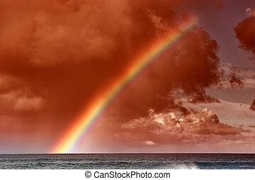 regenboog, ondergaande zon , hawaiian