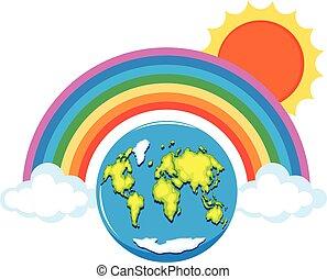regenboog, op, de wereld