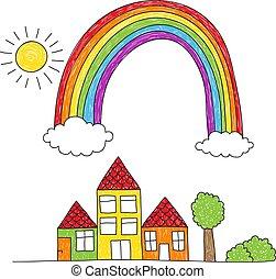 regenboog, op, tekening, huisen