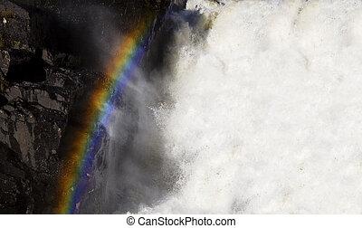 regenboog, op, waterval