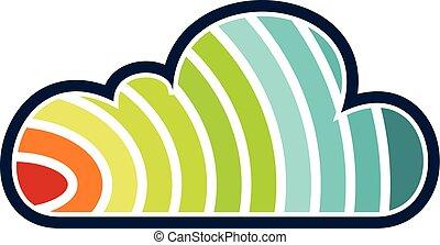 regenboog, oplossing, wolk