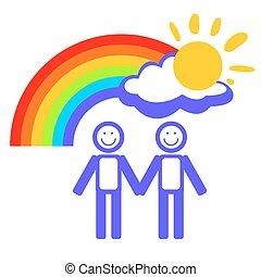 regenboog, paar, man