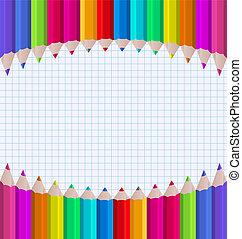 regenboog, papier, blad, achtergrond, potloden