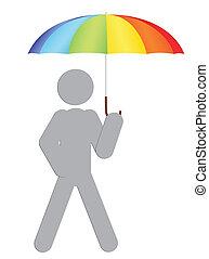 regenboog, paraplu, man