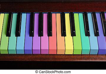 regenboog, piano, achtergrond