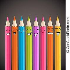 regenboog, potlood, spotprent, kleurrijke, gekke
