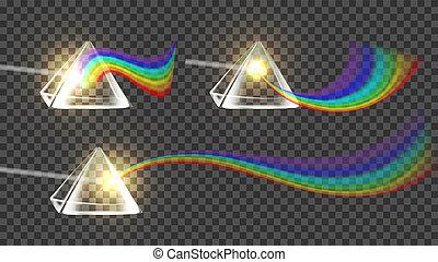 regenboog, prisma, set, spectrum, verzameling