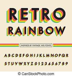 regenboog, retro, alfabet