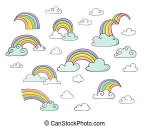 regenboog, -, schattig, set, van, hand, getrokken, vector, illustraties