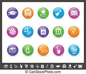 //, regenboog, school, &, iconen, opleiding