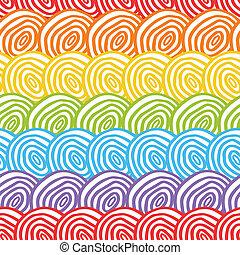 regenboog, seamless, achtergrond, doodle