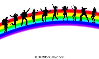 regenboog, silhouettes, dancing, mensen