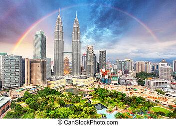 regenboog, skyline, lumper, kuala