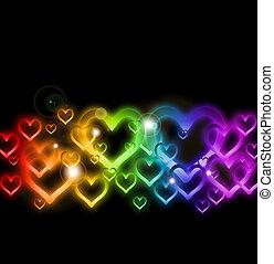 regenboog, sparkles., vector, grens, hart