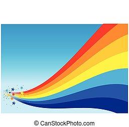 regenboog, ster, achtergrond