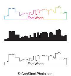 regenboog, stijl, lineair, skyline, waarde, fort