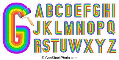 regenboog, stijl, retro, alfabet