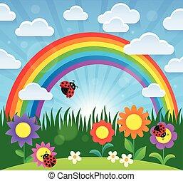 regenboog, thema, bloemen, lente