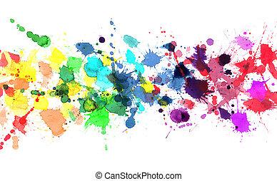 regenboog, van, watercolor verf