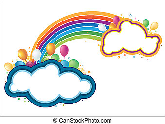 regenboog, vector, ballons