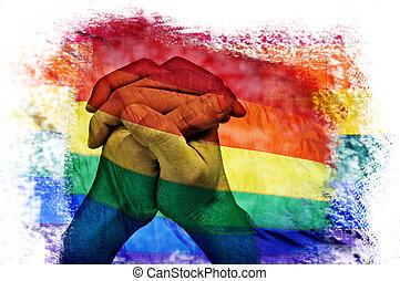 regenboog, veelvoudig, vlag, belichtingen, handen, man,...
