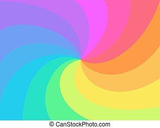 regenboog, verdraaid, achtergrond., spiraal