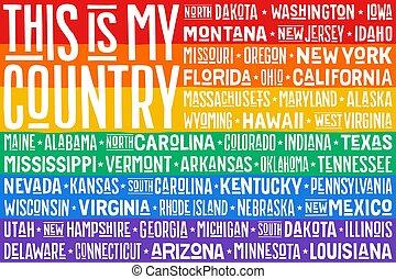 regenboog, verenigd, poster, staten, vlag, amerika