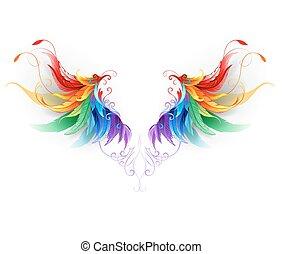 regenboog, vleugels, pluizig