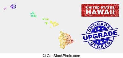 regenboog, vooruitgang, gekleurde, kaart, hawaii, zegels, staat, fabriekshal, nood