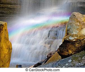 regenboog, waterval