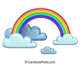 regenboog, weer, pictogram, 3d