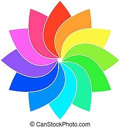 regenboog, wheel., kleuren spectrum, illustratie, vector, vane, kinderen, wind
