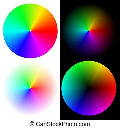 regenboog, wielen, kleuren